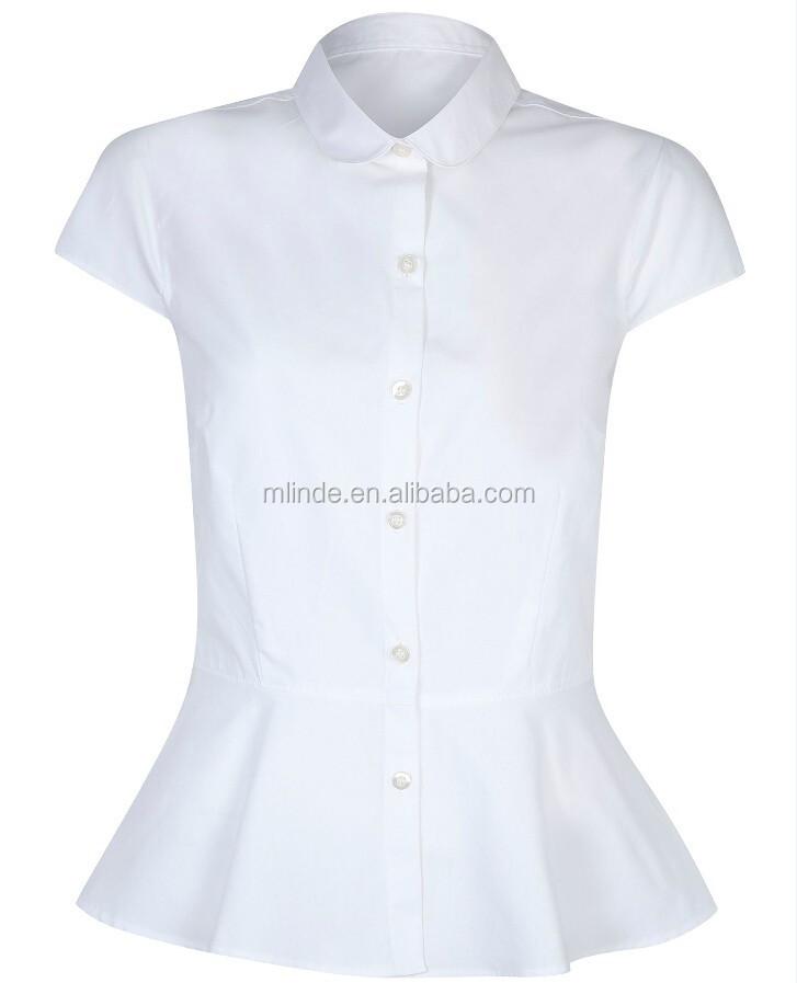e5bae361fdd70 فتيات المدارس peplum قميص الزي المدرسي قصيرة الأكمام قمصان بيضاء المدرسة