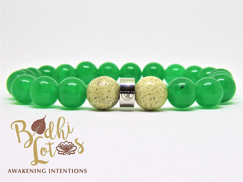 Genuine Green Jade Bracelet Heart Chakra Bracelet Green Stone Bracelet Green Jade Yoga Mala Green Jade Yoga & Meditation Bracelet Green Jade with Lotus Seed