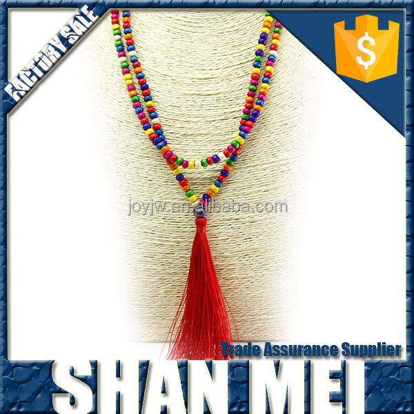Double layer mixed color beads chain necklace with red tassel necklace for fashion women