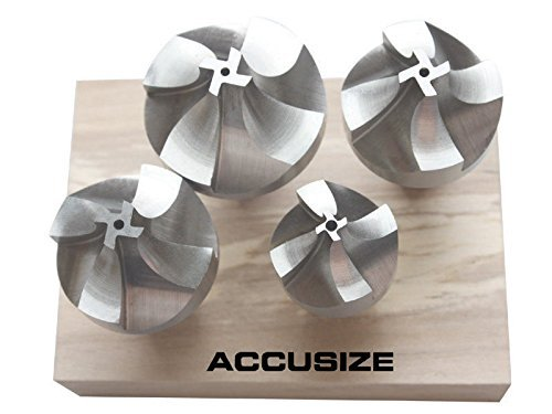 """Accusize Tools - HSS Corner Rounding End Mill Set 4 Pcs/Set Size from 1/2"""" to 3/4"""", #1011-0004"""