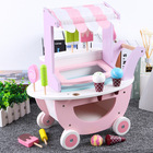 Educational Wood Educational Toy New Design Simulation Ice Cream Girl Child Shopping Cart Toy Supermarket Car Wooden Educational Toys For Kids