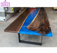 Global hot trend solid walnut wood inlaid live edge shaped epoxy resin river dining table