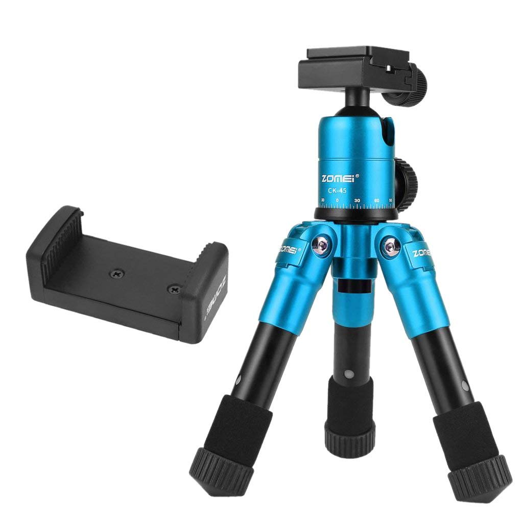 Homyl 20 inch/50cm Portable Compact Desktop Holder Macro Mini Tripod with 360 Degree Rotation Ball Head,1/4'' Quick Release Plate for DSLR Camera, Video Camcorder - Blue