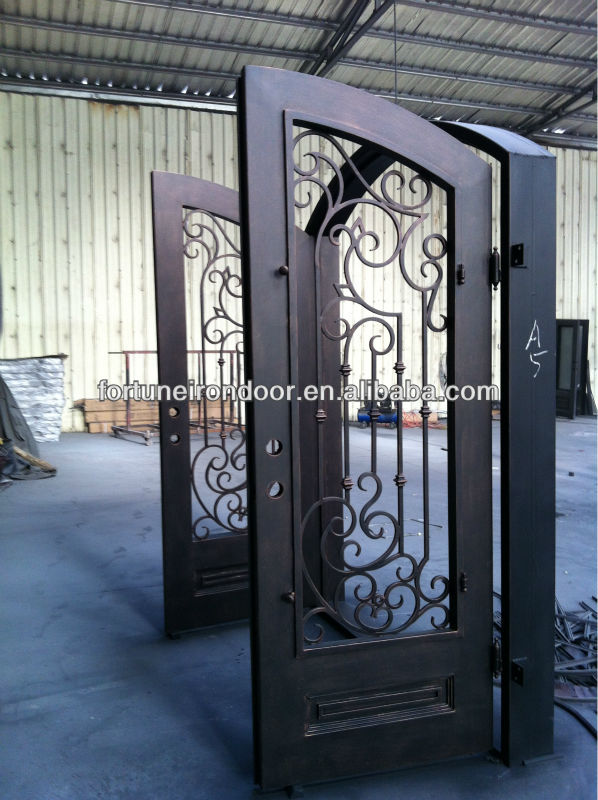 Safety Wrought Iron Entry Doors Glass Front Door Business Made In