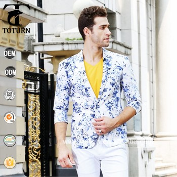 a6775e0461eb 2016 High quality blazer Jacket hawaii style floral print flower pattern men  suits