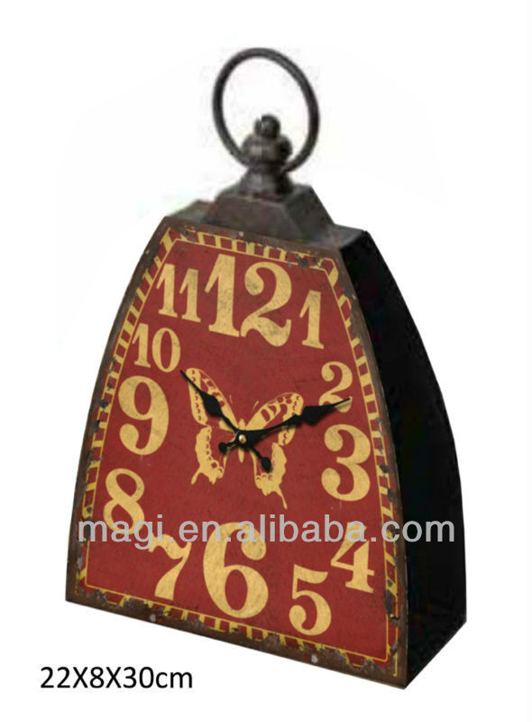 rustic decorative trapezoid metal designer table clock