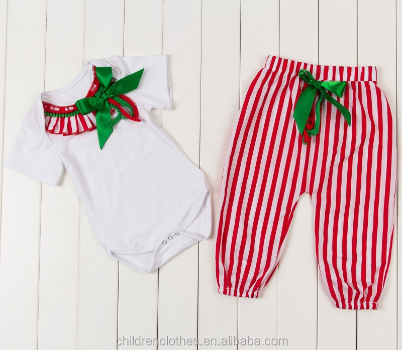 White red stripe bows Christmas outfits baby names unique pictures wholesale kids girl Clothing Sets