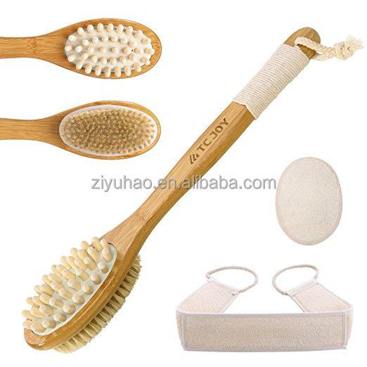 Long Handled Bath Brush Set with Two Loofah Sponges| Body Brush for Exfoliating and Cellulite Reducing| Blossom Bamboo Shower
