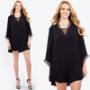 Made in China Wholesale Clothing Sexy Women Oversized Long Kimono Sleeve Dress Lace Trim Bell Sleeve Mini Dress