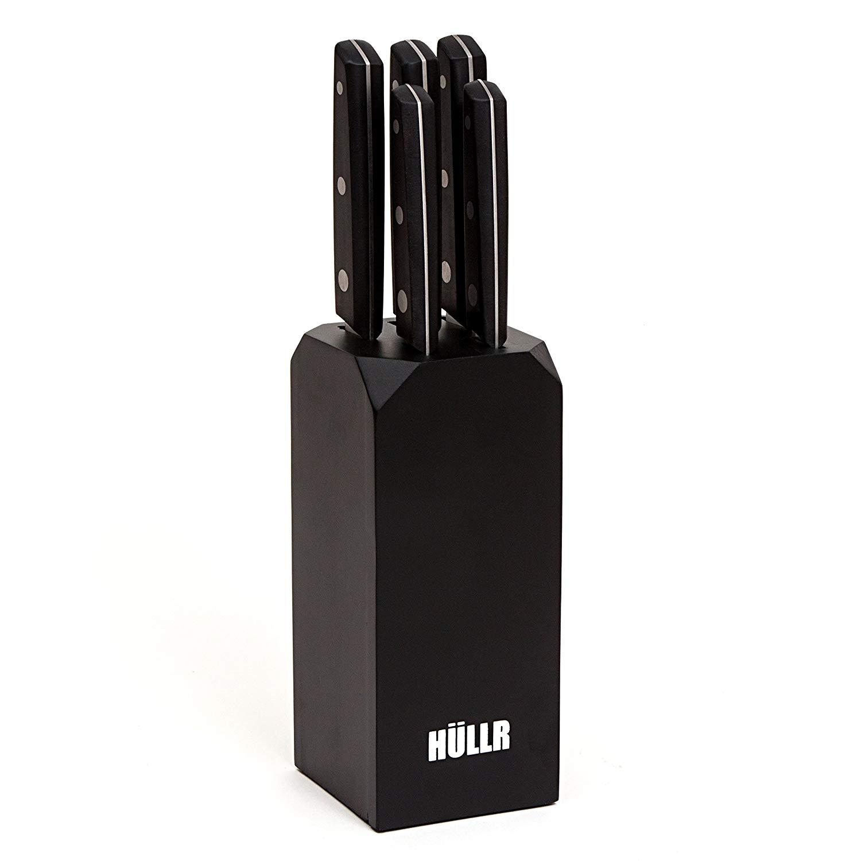 HULLR 5-Piece Ultra Premium Stainless Steel Kitchen Knife Set with Black Handles, Medium Density Fiberboard (MDF) Block, Chef Knife, Slicing Knife, Bread Knife, Utility Knife, Paring Knife