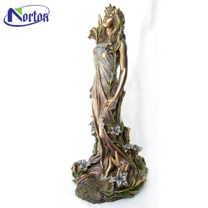 High quality bronze lady statue with garland of elegant goddess sculpture NTBS-E036