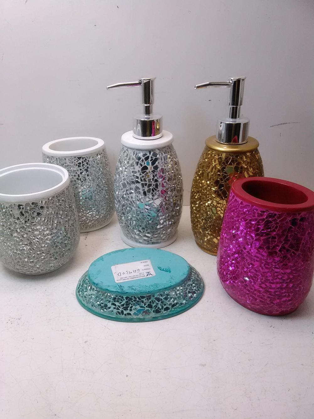 EA0101 silver bathroom accessories sets with soap dispenser and soap dish  also toiletbrush holder