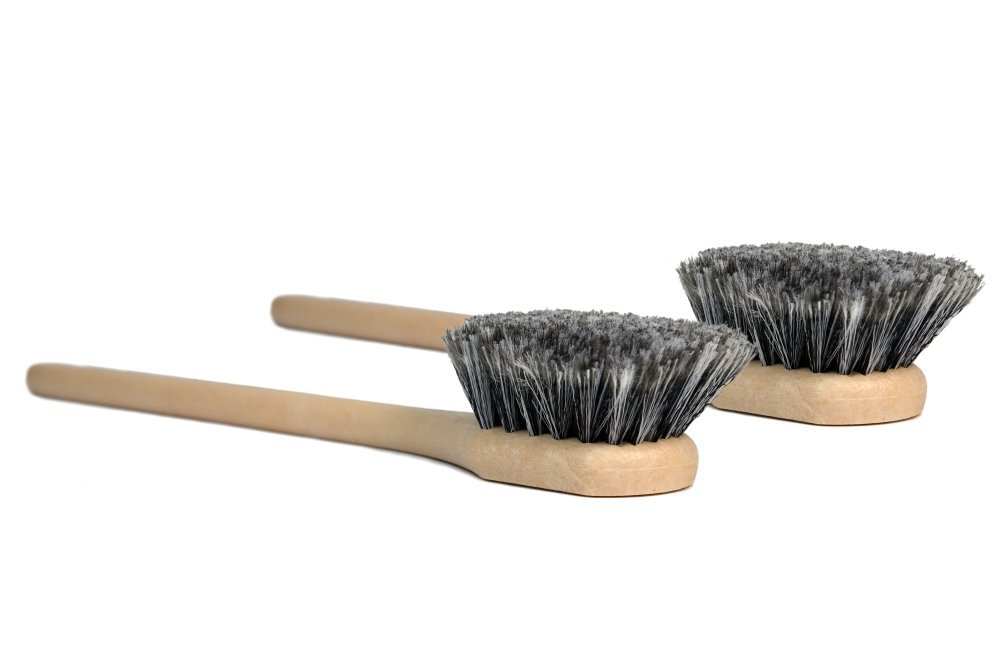 CarCarez 18 inch Car Wash Brush Detailing Cleaning Brush for RV Wheel Rim Tire with Long Handle, Gray, 2 Pack