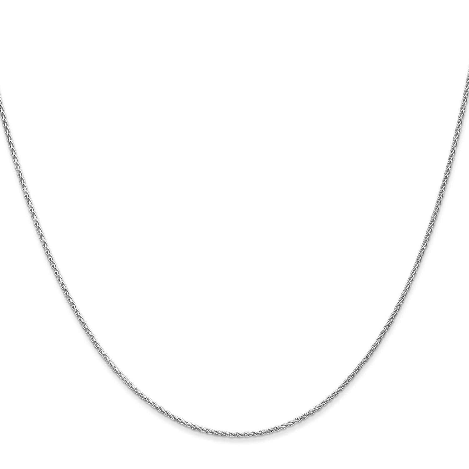 """14k White Gold 1.2mm Round Wheat Chain Necklace Bracelet Anklet 6"""" - 30"""""""