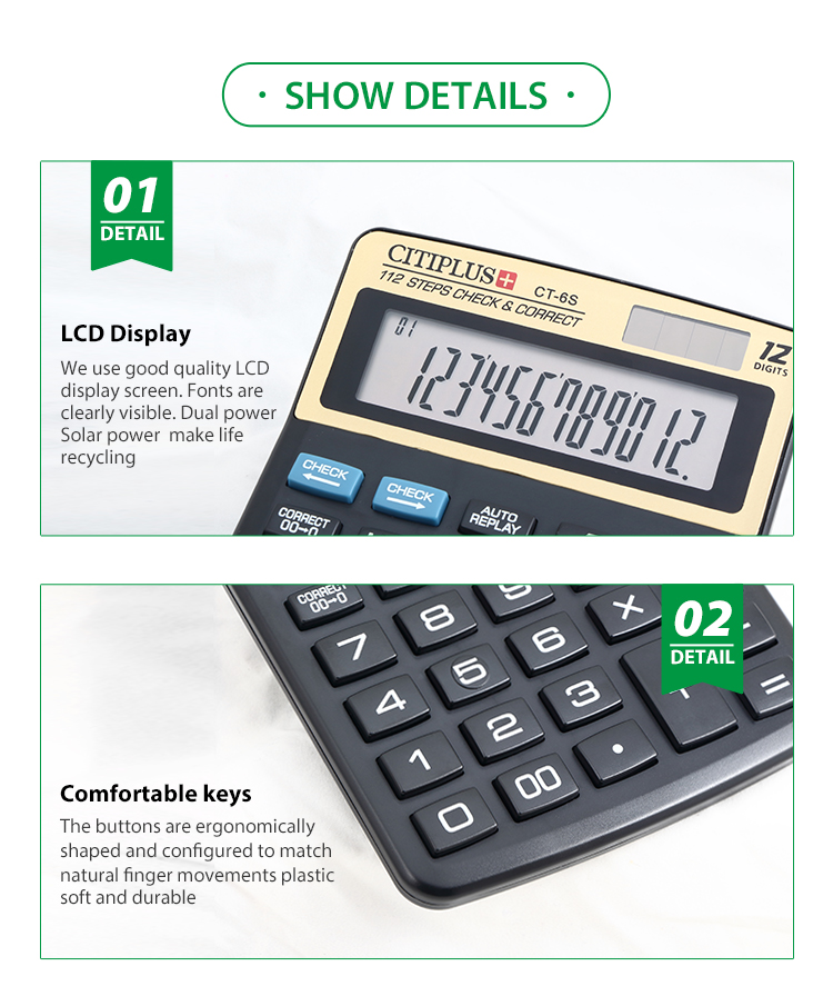 12 digits solar dual power business and office desktop calculator