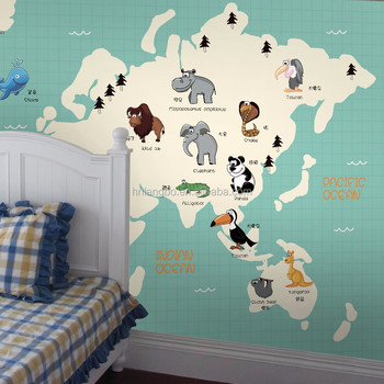 3d cartoon world map animal distribution mural childrens room 3d cartoon world map animal distribution mural childrens room bedroom kindergarten wallpaper gumiabroncs Gallery