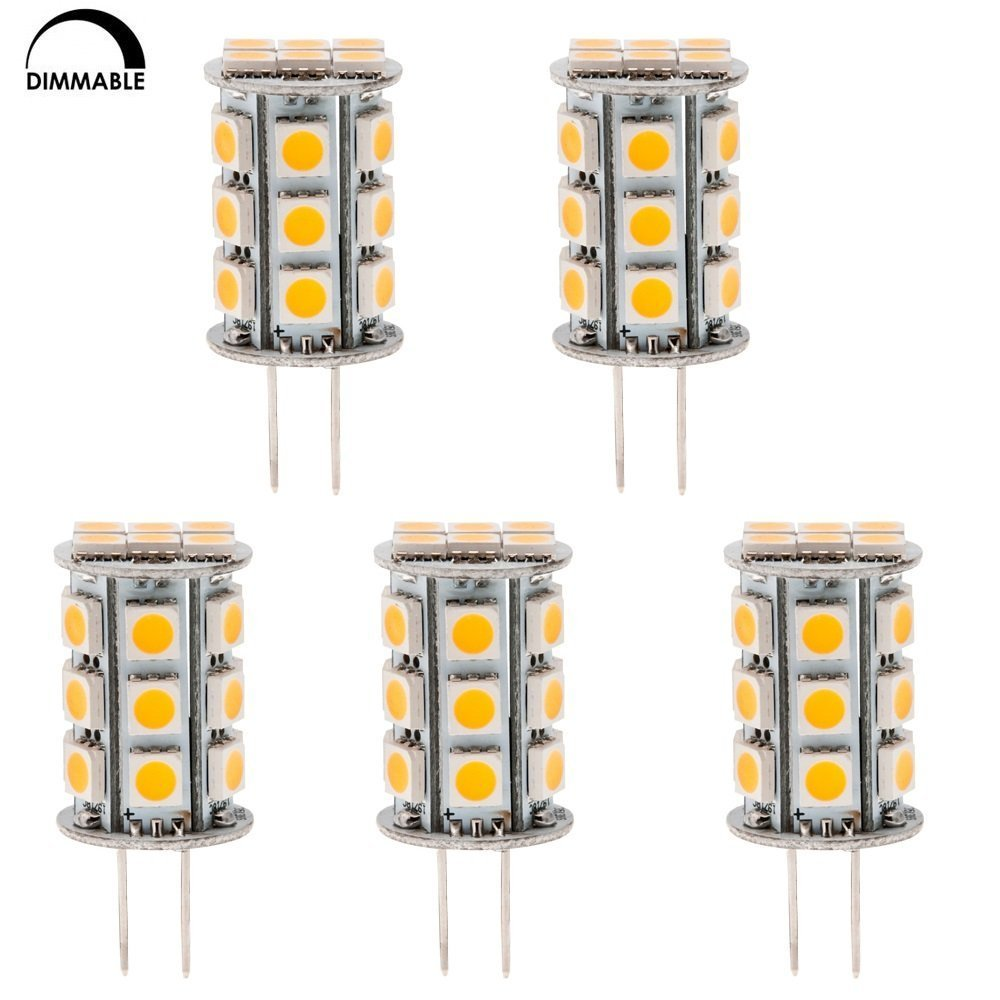 HERO-LED DTG6-24T-WW Dimmable Back Pin Tower GY6.35 Low Voltage 12V LED Halogen Replacement Bulb, 3.5W, 30-35W Equal, Warm White 3000K, 5-Pack