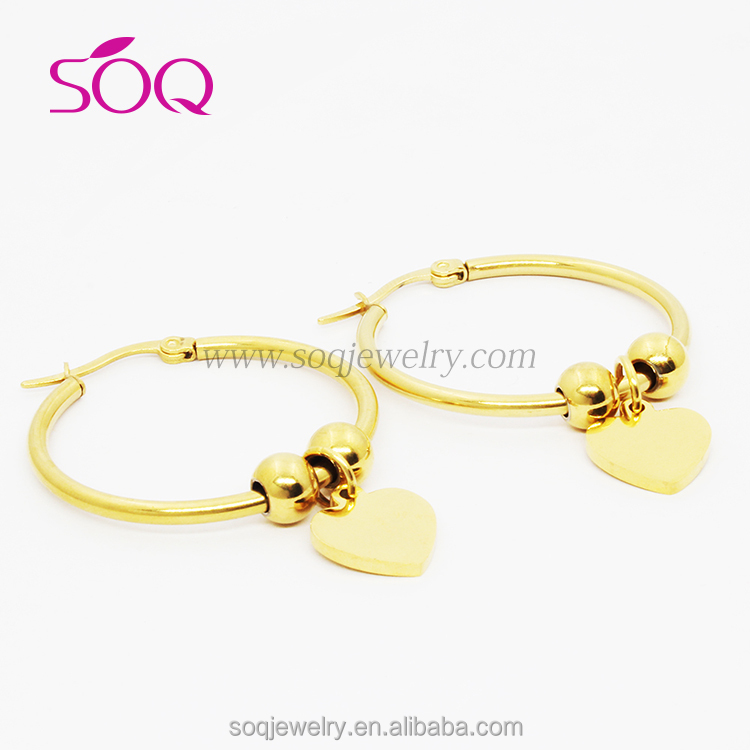 Fashion Jewelry 2016 Gold Heart Soldered Earring Big Hoops For ...