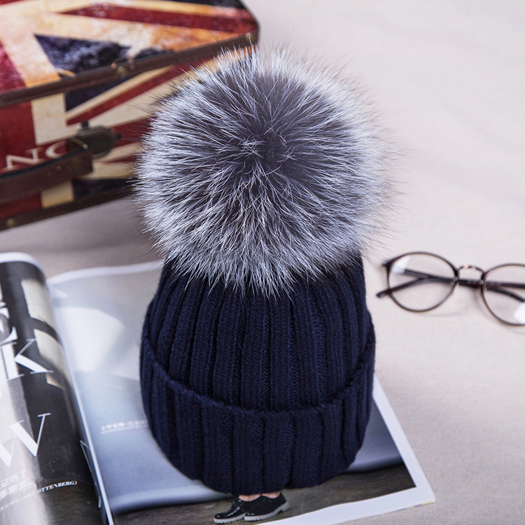fc57eb3b9 15cm real fox fur ball cap pom poms winter hat for women girl s wool hat  knitted cotton beanies cap brand thick new female