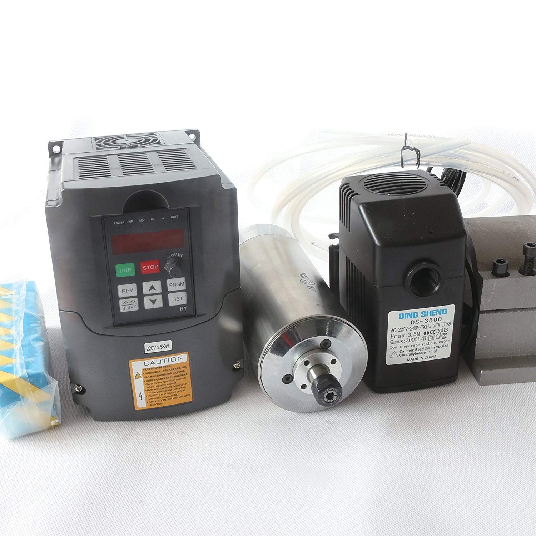 1.5KW Water Cooled Spindle Motor ER11 220V/AC Kit & 1.5kw 220V Inverter VFD 3HP & 80mm Clamp Mount & 75W Water Pump 220V with 6M Pipe & 13pcs/Set ER11 Collet for CNC Router Engraving Milling Machine