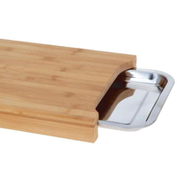 Kitchen Bmaboo Cutting Board with Stainless Steel Tray Chopping Board