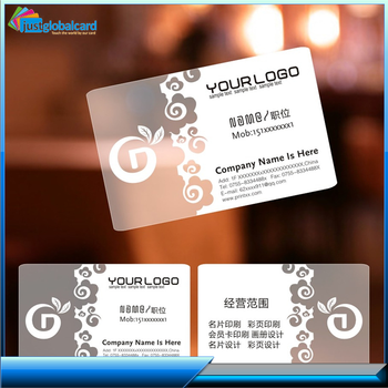 cheap price on sale plastic transparent clear business cards with printer card pvc