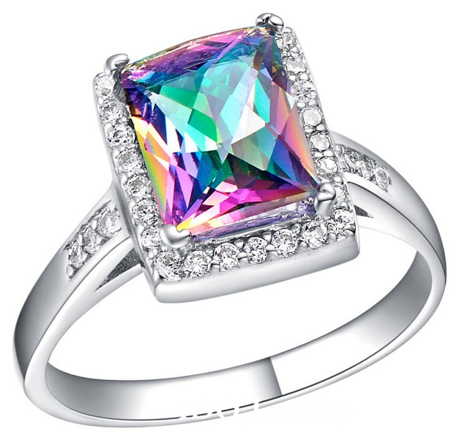2014 New Rainbow Stone Rings For Women Square Ring Wedding