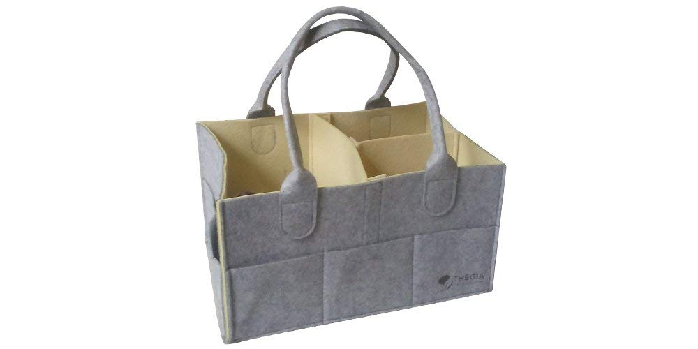 THEGIA Diaper Caddy Organizer - Perfect for Nursery, Cars, Travel, Baby Shower Gifts, Boys & Girls - Holds Diapers & Wipes - Bath & Toy Storage - Portable & Foldable Unisex Tote - Cream & Grey, Medium