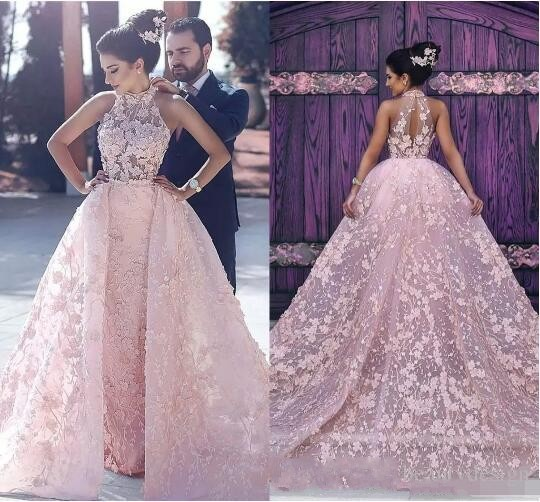 ZH1096X Luxury Pink Lace Appliques High Neck Glamorous Illusion Arabic Prom Dresses 2019 Luxury Detachable Formal Evening Gowns