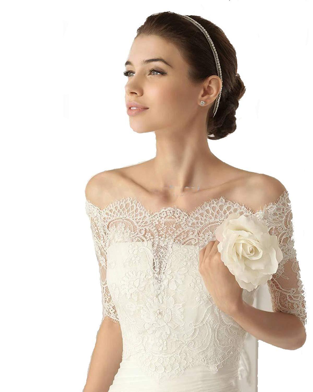 600cd6e848c86 SIQINZHENG Off-Shoulder Half Sleeves White Lace Bolero Wedding Jackets  Bridal Wraps