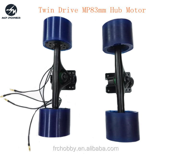 Powerful twin drive MP83mm hub motor with rear and front truck for electric skateboard