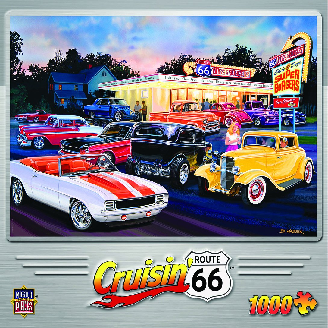 MasterPieces Cruisin' Route 66 Dogs & Burgers Classic Cars 1000-Piece Jigsaw Puzzle by Bruce Kaiser
