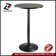 23.7 Inch Top, 39.76 Inch Height Pub Round Black Mdf Top Bar table with Black Leg And Base