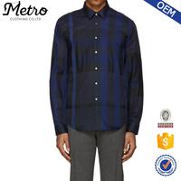 Deep Blue Huge Plaid Shirts for Men Plus Size Shirts