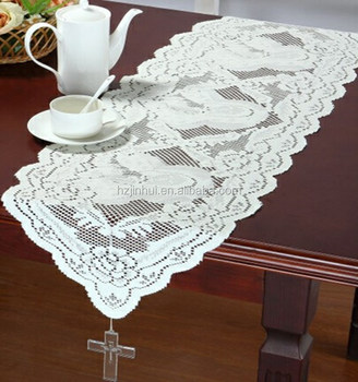 Beau 100% Polyester Christmas Religious Mother Of God Table Runner With Crystal  Cross