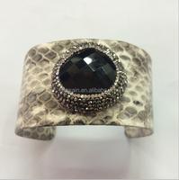 LS-H219 Latest Style!Black agate gemstone stone bangle cuff with snakeskin wrap. Fancy Pave diamond rhinstone banglefor men's
