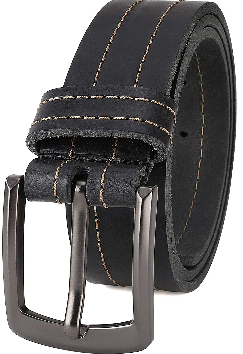 """Men's Full Grain One Piece leather Double Stitched Belt, 1.5"""" Wide, Made in USA"""