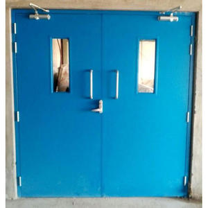 Double leaf emergency exit metal fire rated door