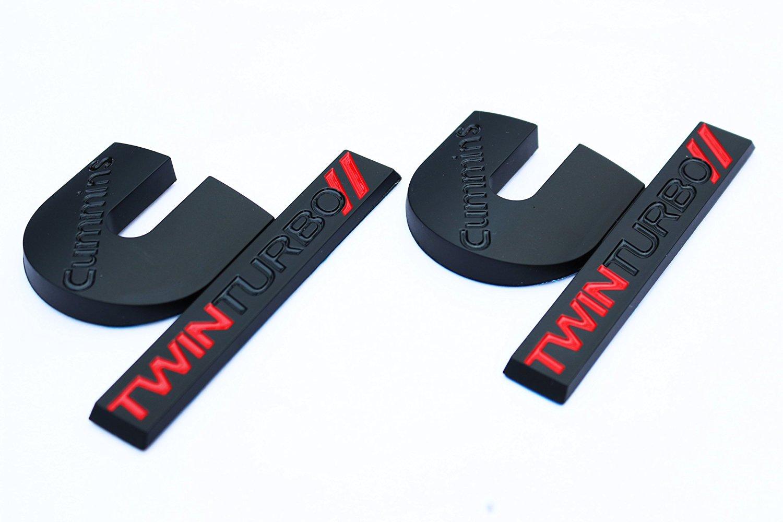 2 (Pair) New 2006-2012 Matte Black and Red Dodge Ram Cummins Twin Turbo Diesel Emblems Badges Set 2500 3500 4500 decal