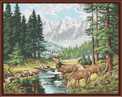 naturel forest landscape deer picture canvas oil painting by numbers GX6801 wholesales