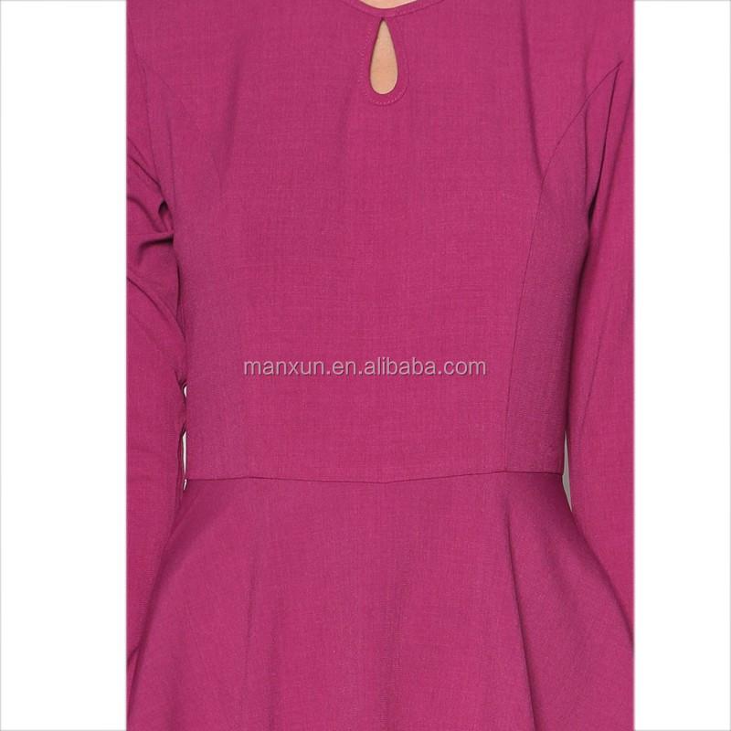 Rose Red Peplum Dress Fashion Baju Kurung For Muslim Women