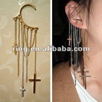Gold Silver Cross Fringe Ear Cuff Dangle Earrings Chains Non Pierced