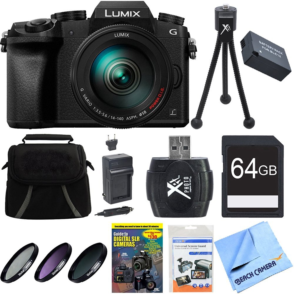 Panasonic LUMIX G7 4K Video DSLM Camera w/ 14-140mm Lens 64GB Bundle includes LUMIX G7 DSLM Camera, 14-140mm Lens, Compact Gadget Bag, Training DVD, 64GB Memory Card, Battery, Charger, Deluxe Filter Kit, Card Reader, Mini Tripod, Screen Protectors and Cloth