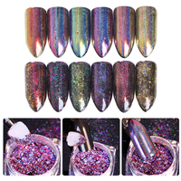 6 Colors Chameleon Flake Mirror Effect Holographic Nail Glitter Powder 0.2g Laser Nail Art Pigment