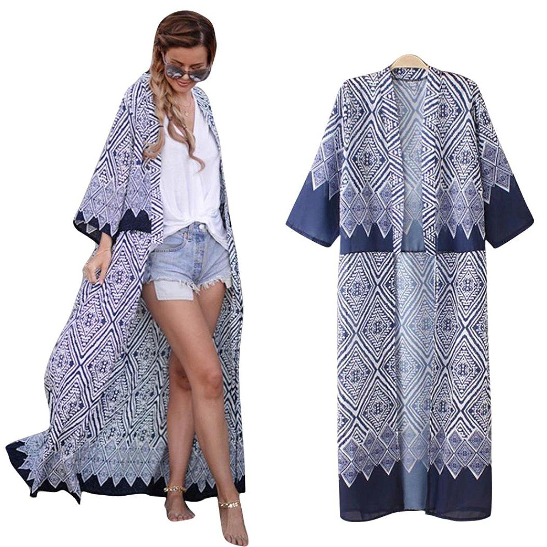 BCDshop Cover Up Shirts, Women Mandela Print Loose Shawl Kimono Cardigan Tops Casual Summer Cover up Blouse 3/4 Sleeve