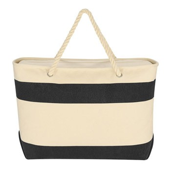stripe canvas beach tote bag wholesale With Rope Handles