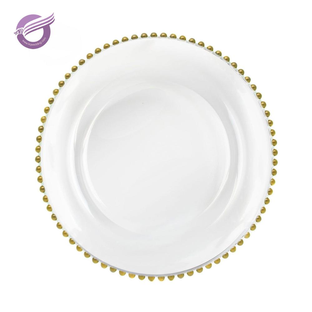 PZ22640 Cheap Wedding Silver Glass Beaded Gold Charger Plates Wholesale