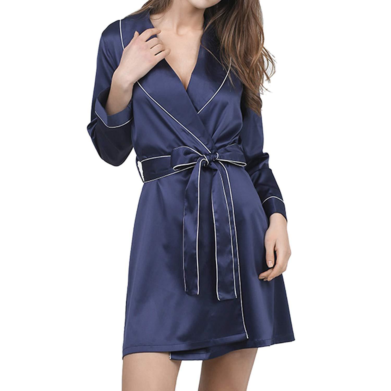 fb5889ea4f LAPAYA Women s Satin Robes Shawl Collar Long Sleeve Lightweight Silky  Sleepwear