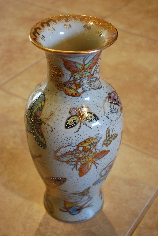 Vintage Porcelain Vase 12 Inch Chinese Butterfly Satsuma Hand