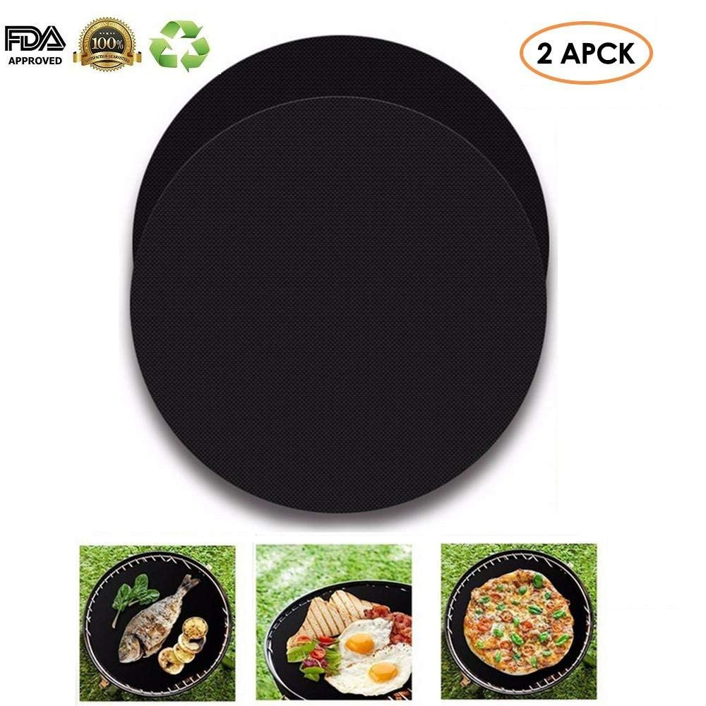 Aolvo BBQ Grill Mat, Black Non Stick BBQ Grill & Baking Mats,Easy to Clean,FDA Approved (2 Packs)